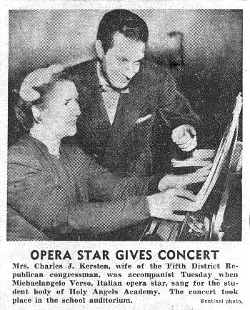 Opera Star gives concert - Washington D.C. 1954