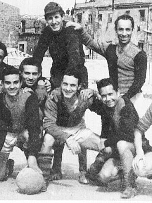 Group photo with Ciccio Ingrassia, Michelangelo Verso and others after a football match