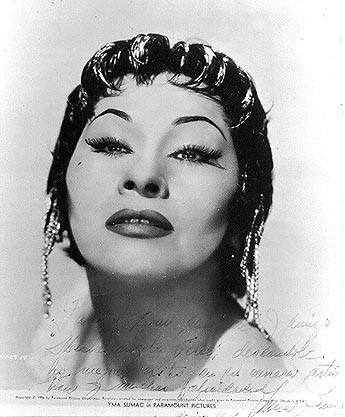 Photo of Yma Sumac dedicated personally to Michelangelo Verso