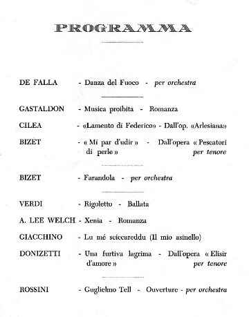 Programme of the lyric concert, the evening before the arrival of the Andrea Doria in New York