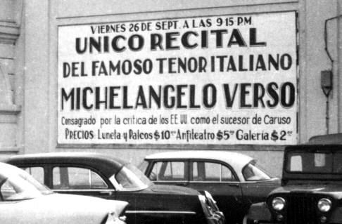 Publicity banner of a recital of M. Verso at the Teatro Municipal of Cal� (Colombia)