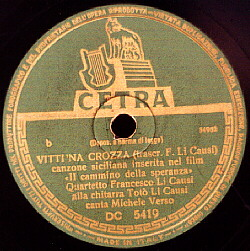 Cetra label of 'Vitti 'na Crozza'