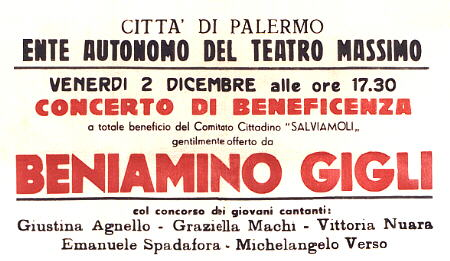 Part of a Playbill from the Teatro Massimo - Palermo 1949